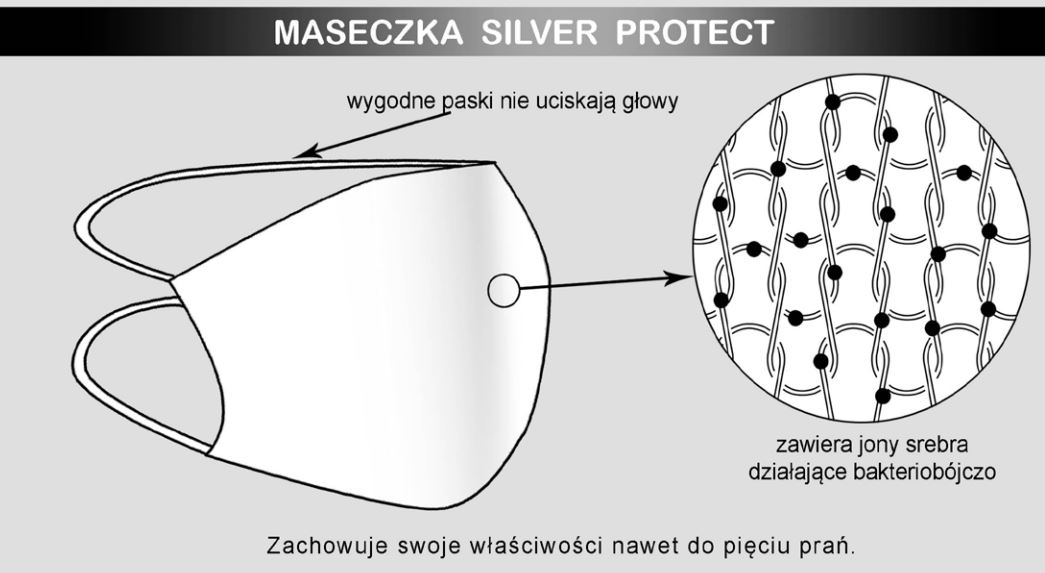Face mask Protect Silver Black
